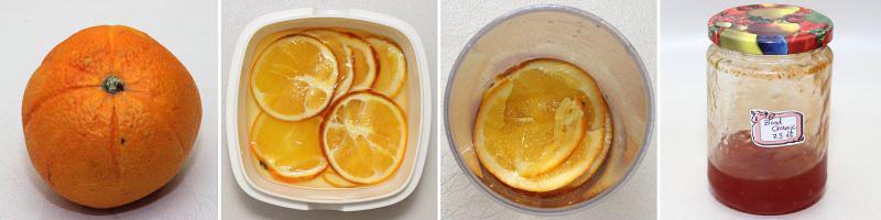 pochierte orangen serie