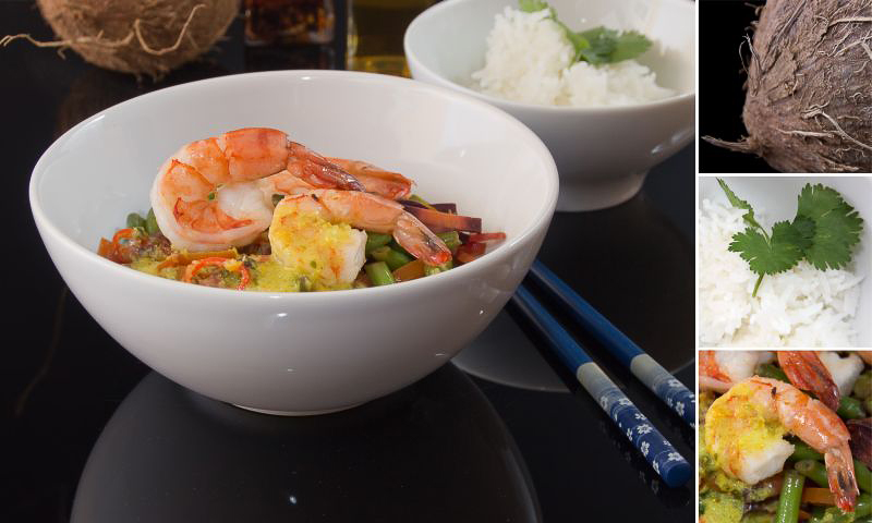 grünes Thai curry mit details
