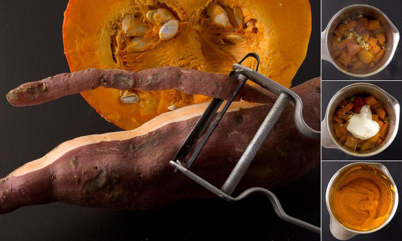 kürbis-süßkartoffel-püree serie