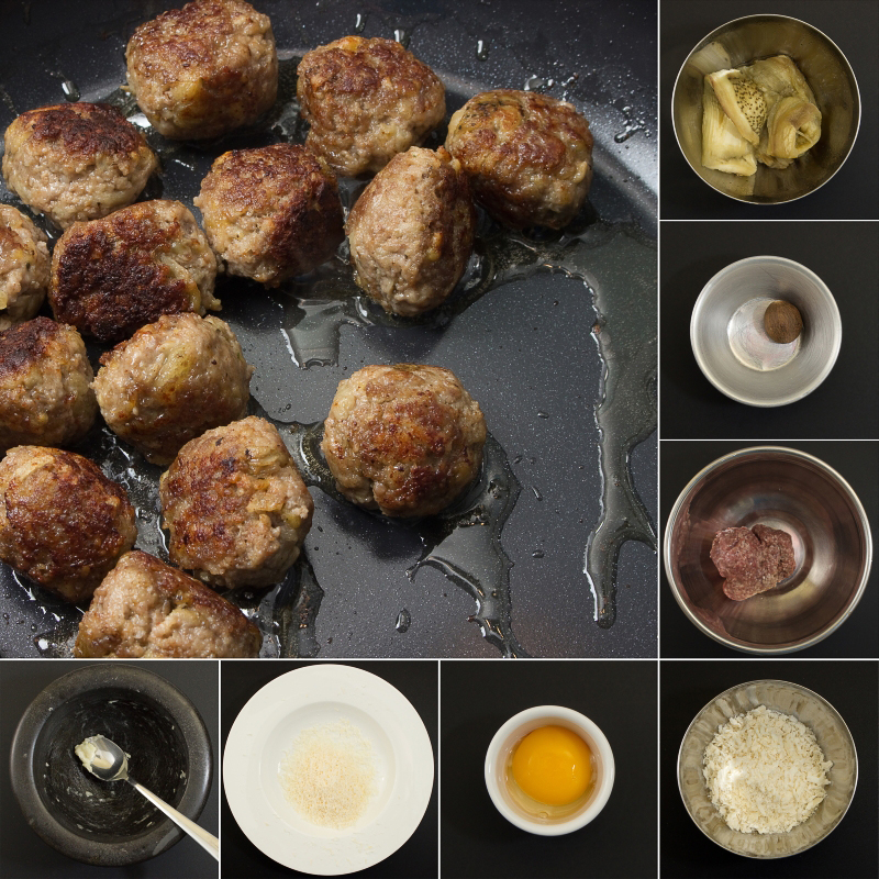 Fleischbällchen mit Aubergine Serie