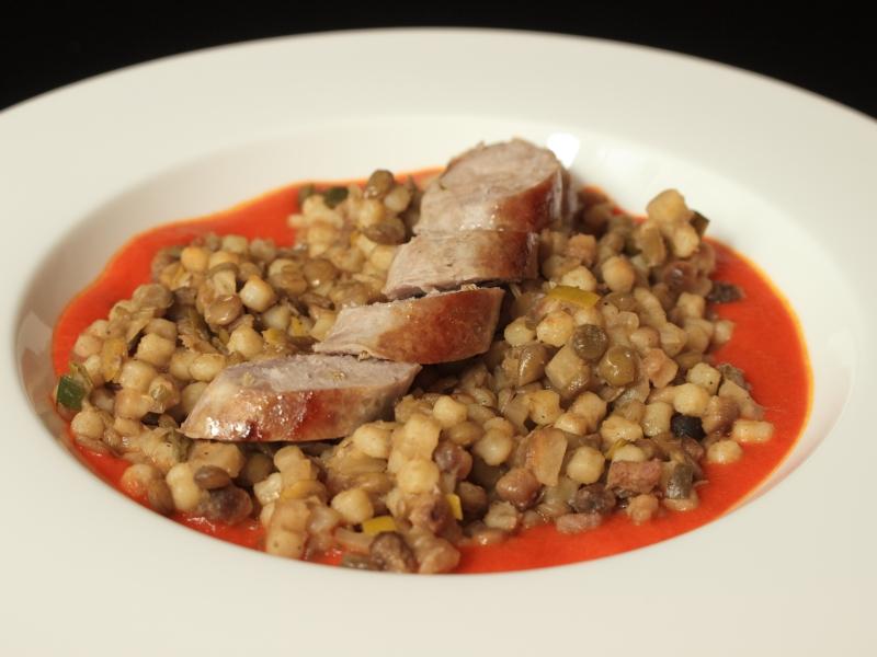 Linsen mit Fregola und Salsicce 2