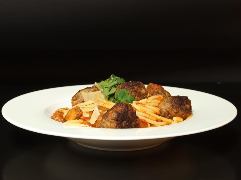 Spaghetti mit Auberginenhackbällchen 3